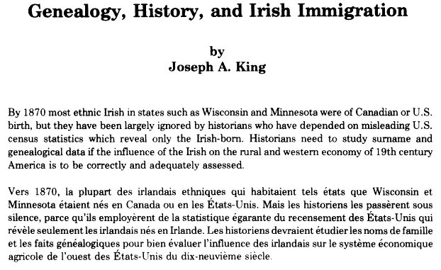 Article by Joseph A. King - Genealogy, History and Irish Immigration