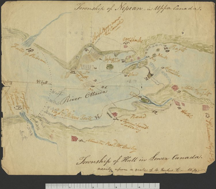c. 1826 map of Bytown / Ottawa, Ontario, and Hull, Quebec
