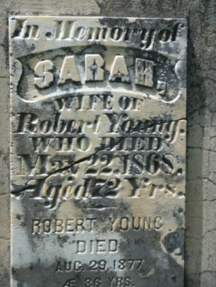 Tombstone for Robert Young at Hazeldean, Ontario, Canada
