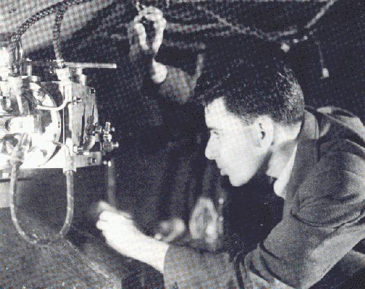 Dr. Louis Slotin at work, date and location unknown.